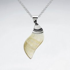 Spiral Mother Of Pearl Silver Pendant