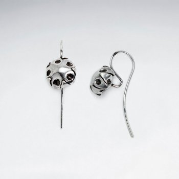 Spotted Button Earrings in Oxidized Silver