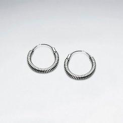 Spring Coil Sterling Silver U- Hoop Earrings