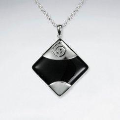Square Black Stone Silver Pendant