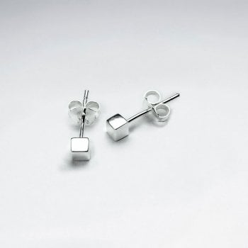 Square Boxed Sterling Silver Small Stud Earrings