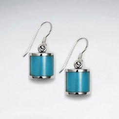 Square Dangling Blue Turquoise Silver Earring