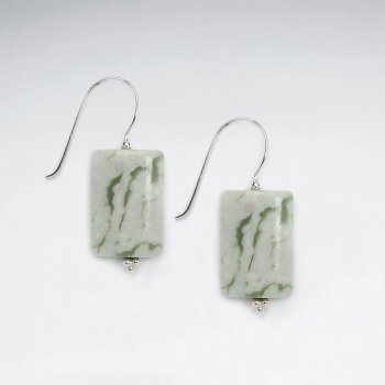 Square Green Jasper Silver Dangling Earring
