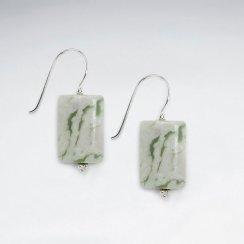 Square Green Jasper Silver Dangling Earring