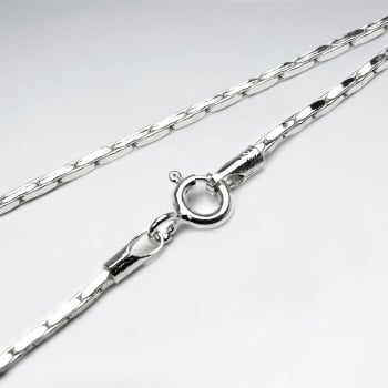 Square Hammered 925 Silver Chain