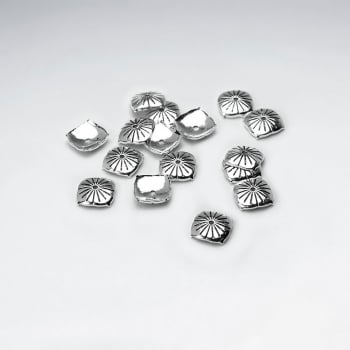 Square Imprinted Domed Silver Bead Caps Pack Of 20 Pieces