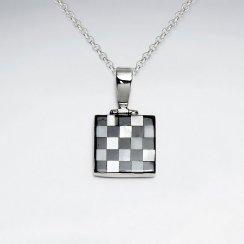 Square Latice Shell Silver Pendant