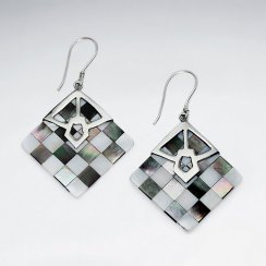 Square Lattice Shell Silver Earring