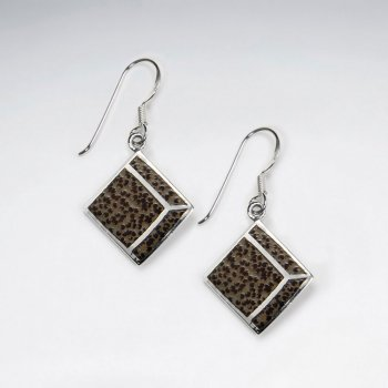 Square Palm Wood Dangling Silver Earring