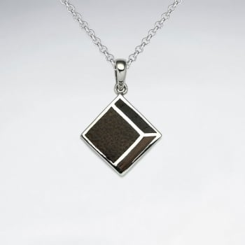 Square Shape Natural Mix Wood Silver Pendant