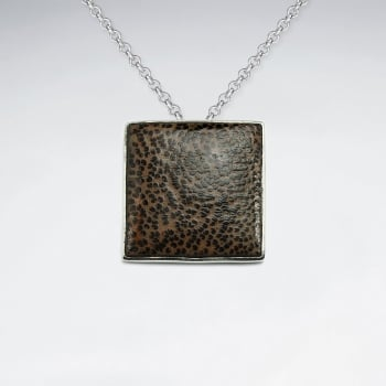 Square Shape Natural Wood Silver Pendant