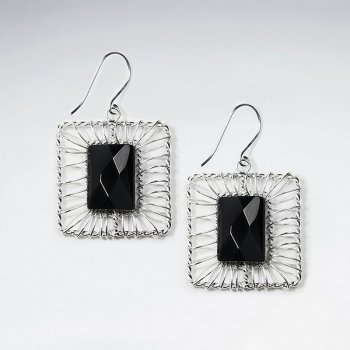 Square Shape  Wirework Dangling Earring With Black Stone