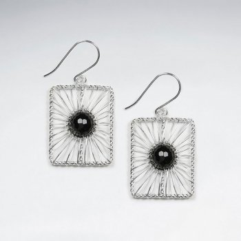 Square Shape Wirework Dangling Earring With Round Black Stone