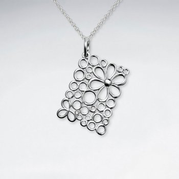 Square Silver Pendant With Flower Cutout