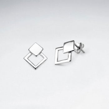Square Silver Stud Earring