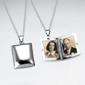 Square Sterling Silver Pendant Locket