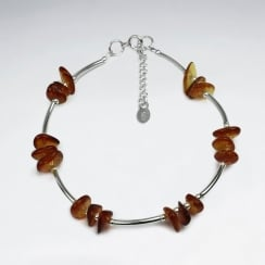 Staggered Amber & Sterling Silver Stone Bead Bracelet