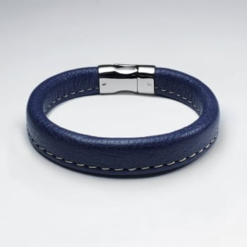 Stainless Steel Blue Leather Bracelet