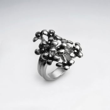 Stainless Steel Bouquet Cluster Fashion Ring