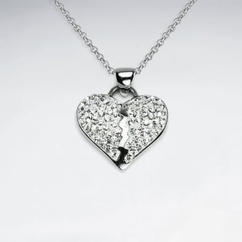 Stainless Steel Broken Heart Crystal Pendant