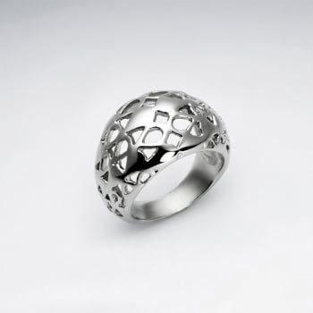 Stainless Steel Bubbled Cutout Designs Ring