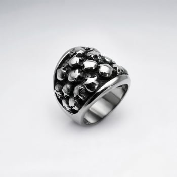 Stainless Steel Bubbled Skull Ring