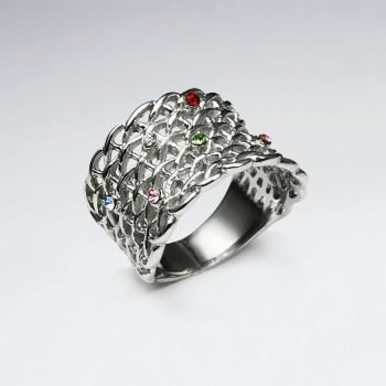 Stainless Steel Chainlink Crystal Studded Fashion Ring