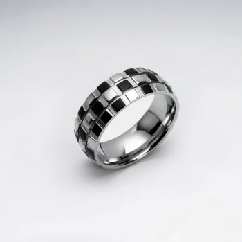 Stainless Steel Checkered Print Ring