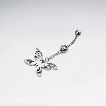 Stainless Steel Crystal Butterfly Body Piercing