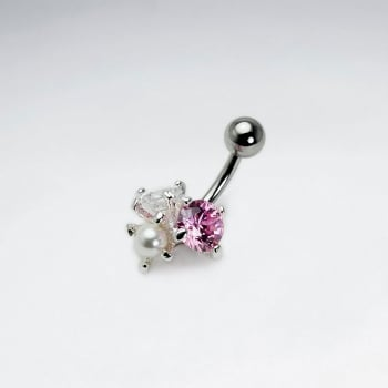 Stainless Steel Crystal Cluster Body Piercing