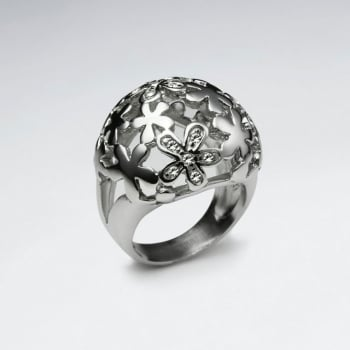 Stainless Steel Crystal Flower Cutout Dome Ring