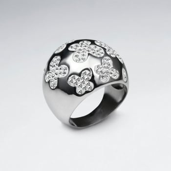 Stainless Steel Crystal Flower Domed Ring