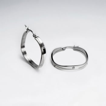 Stainless Steel & Crystal Lined Box Hoop Earrings
