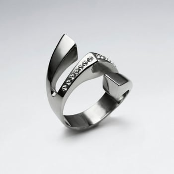 Stainless Steel Crystal Lined Wing Statement  Ring