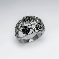 Stainless Steel & Crystal Openwork Floral Design Ring
