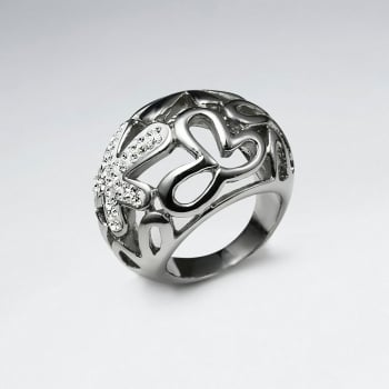 Stainless Steel Crystal Openwork Splat Design Ring