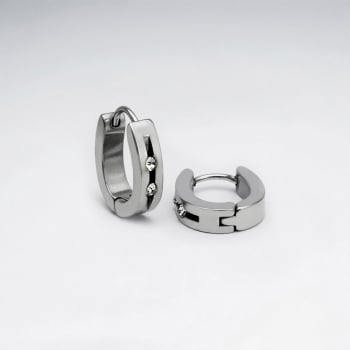 Stainless Steel & Crystal Studded Huggie U-Hoop Earrings