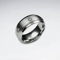 Stainless Steel Crystal Studded Ring