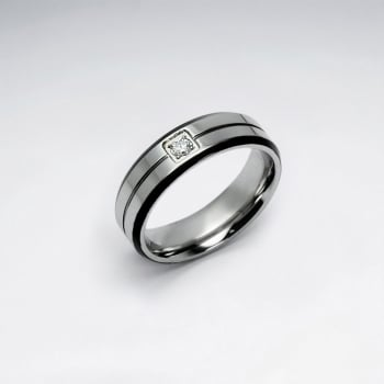 Stainless Steel Crystal Wide Band Line Ring