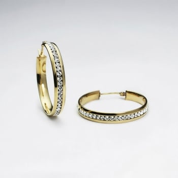 Stainless Steel & Crystal Wrapped Gold Tone Hoop Earrings