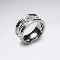 Stainless Steel Crystal Wrapped Ring