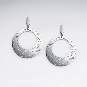 Stainless Steel Cutout Designs Open Disc Earrings