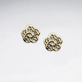 Stainless Steel CZ Studded Trefoil Filigree Earrings