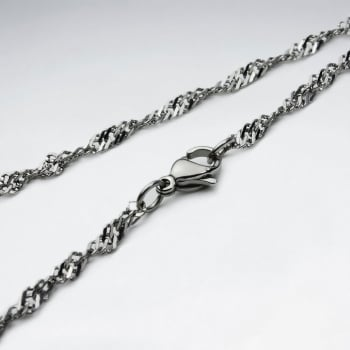 Stainless Steel Diamond Cut Twist Chain Necklace Pack Of 5 Pieces