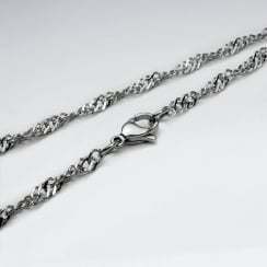 Stainless Steel Diamond Cut Twist Curb  Chain Necklace Pack Of 5 Pieces