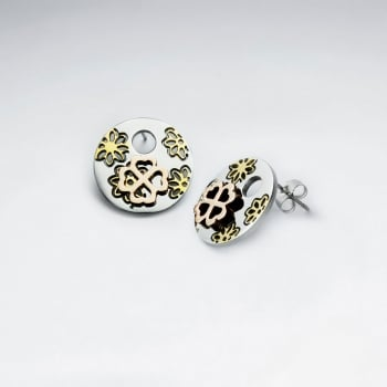 Stainless Steel Dimensional Organic Flower Circle Silhouette Earrings