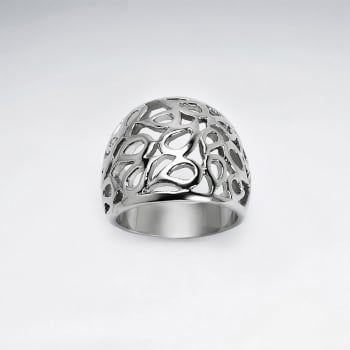 Stainless Steel Domed Openwork Teardrop Ring