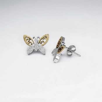 Stainless Steel Duel Tone Butterfly Earrings