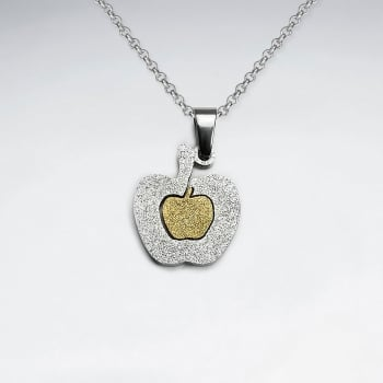 Stainless Steel Duel Tones Textured Apple Pendant