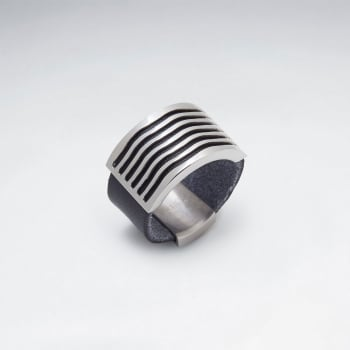 Stainless Steel Edgy Style Leather Ring